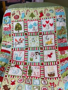 12 Days of Christmas Panel Quilt by Kate Spain for Moda