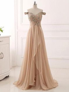 CHIC A-LINE PROM DRESSES LONG OFF-THE-SHOULDER PROM DRESS EVENING DRESSES WITH