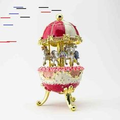 Red Faberge Style Egg with Horse Carousel by Keren Kopal Decorated with Swarovski Crystals Gold Plated Red Enamel Painted Red Faberge Style Egg with Horse Carousel by Keren Kopal Decorated with Swarovski Crystals Gold Plat Red Wind, Faberge Eggs, Carousel Horses, Enamel Paint, Trinket Boxes, Baby Gifts, Swarovski Crystals, Cool Things To Buy, Handmade Items