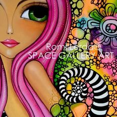 Romi Lerda Doll Painting, Painting For Kids, Fabric Painting, Painting & Drawing, Illustrations, Illustration Art, Happy Paintings, Face Paintings, Acrylic Painting Lessons