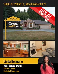 #SOLD  Congratulations Linda Bejarano & David Walker, and most specially to the new owners of Lovely custom home on 3+ quiet acres close to Woodinville/Redmond, NS Schools and I-405  MLS # 1155705