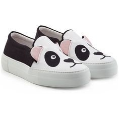 Joshua Sanders Panda Slip-On Sneakers ($280) ❤ liked on Polyvore featuring shoes, sneakers, multicolor, black and white shoes, colorful sneakers, multi colored sneakers, black and white sneakers and platform shoes