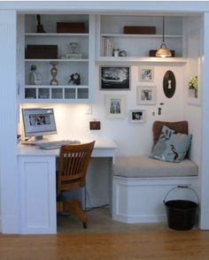 Amazing ClosOffices - Closet Offices!I'm really into 'closoffices.' I have a room that I have outfitted into a massive walk-in closet. The room had a great closet nook and since I didn't need the closet space, I made the closet into an office. So I have a clos-office for real!To make your own, simply add some horizontal shelving, build a desk in or visit ikea for a perfect small desk, and organize away! A closet is just the right size for an at-home office. Here are some more ...