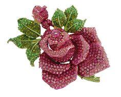 TTjewelry Pink Huge Rose Flower with Green Leaf Pink Bud Austrian Crystal Rhinestone Brooch Pin B20000101 - C1121QTAS1F - Brooches & Pins  #jewellrix #Brooches #Pins #jewelry #fashionstyle