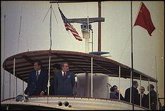 Richard M. Nixon and Leonid Brezhnev aboard the Presidential Yacht, Sequoia.: 06/19/1973