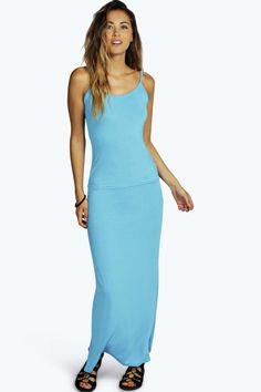 Strappy Cami Top & Maxi Skirt Co-Ord Set turquoise