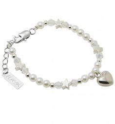 Childrens Handmade Silver Bracelet 'Shine Bright' with Heart - KAYA jewellery UK