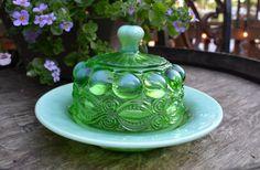 Mosser Glass Green Opalescent Butter Dish by silkcreekgallery, $60.00