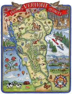 Map of Vermont State Art Print 11x14 by SepiaLepus on Etsy