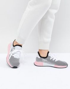 new arrivals ff332 96883 adidas Originals Deerupt Trainers In Black And Pink