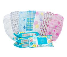 """Honest Co. """"better"""" disposable diapers and wipes. Love the boy patterns -- anchors!"""