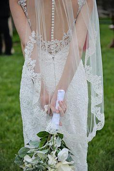 Lace Fingertip Wedding Veil Ivory Veil Veil with Lace Trim