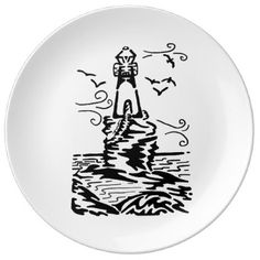 Lighthouse Breeze Art Drawing Dinner Plate - home gifts ideas decor special unique custom individual customized individualized
