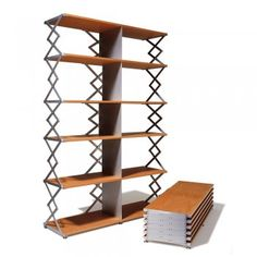 """""""Scissor Shelf"""" (variable height, easy to transport) made from natural oak and anodized aluminium by Swiss designer Kurt Thut."""