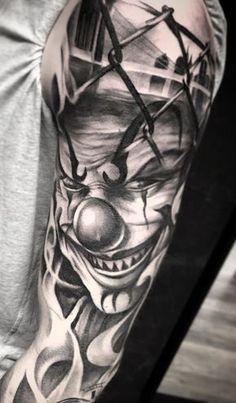 Skull Hand Tattoo, Skull Sleeve Tattoos, Girl Arm Tattoos, Hand Tattoos For Guys, Best Sleeve Tattoos, Forearm Tattoo Men, Evil Clown Tattoos, Scary Tattoos, Chicanas Tattoo