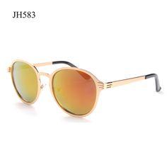 High Quality Metal Sunglasses Women Men Round Sun Glasses With Copper Frame UV400 Mirror Eyeglasses Shades Lunette De Soleil