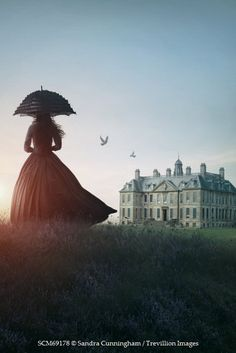 Sandra Cunningham Silhouette of a woman in long dress on a hill