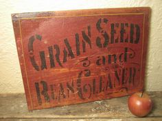 Early Old Wooden Stenciled `Grain, Seed and Bean Cleaner' Farm Sign – Old Red Paint  $88