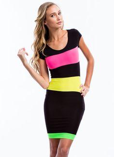 Striped-Colorblock-Bodycon-Dress BLACKMULTI - GoJane.com