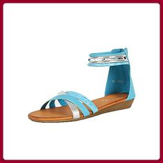 Teal / Silver low wedge sandals with ankle cuff and back zip - Sandalen für frauen (*Partner-Link)