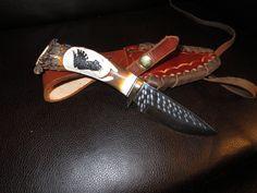 """Hunting Knife Ken Richardson CUSTOM MADE N USA CARVED Eagle   4"""" DROP BLADE #KenRichardson"""