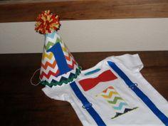 First Birthday Onesie Baby Boy 1 Red and Gray by LittleStitchinLu, $17.50