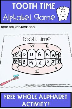 Looking for alphabet activities for your toddler, preschool or kindergarten students? This hands on whole alphabet game is a fun way to practice letter recognition. And as a bonus you can talk about dental care as you brush your alphabet teeth! Click through for your FREE printable today! #preschool #letteroftheweek #dentalcare Kindergarten Lesson Plans, Kindergarten Activities, Preschool Learning, Morning Activities, Health Activities, Dental Health, Dental Care, Dental Hygiene, Preschool At Home