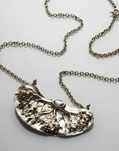 "Marja Arola, ""Haltia"" (Spirit) necklace, in sterling silver with aquamarine. Metal Clay Jewelry, Jewelry Art, Jewerly, Artisan, Jewelry Making, Bronze, Brass, Pendants, Pendant Necklace"