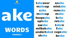 English Phonics - Improve your spoken English - daily use English words - English word speaking practice - English sentence speaking practice - ake words - ake sound - ake phonics - ake sound words - everyday ake words - ake phonics sound - phonics - ake vowel sound words - long vowel sound ake - long ake words - vowel digraph ake - long vowel ear - ake words examples - ake blending - blending phonics - ake consonant digraph - English language phonics English Phonics, English Sentences, English Words, English Language, Consonant Digraphs, Phonics Sounds, Sound Words, Long Vowels, Improve Yourself