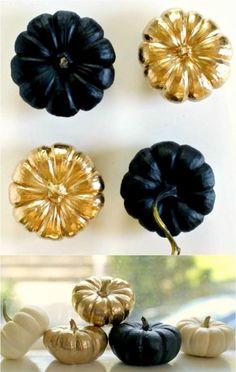 Dekorieren Spray Farbe-Gold Schwarz Mini-Kürbisse Herbst