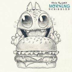 Burger time!!!  #morningscribbles