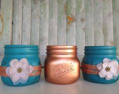 Mason Jar Decor, Copper Trio, Bathroom Set, Canisters, Bathroom Decor