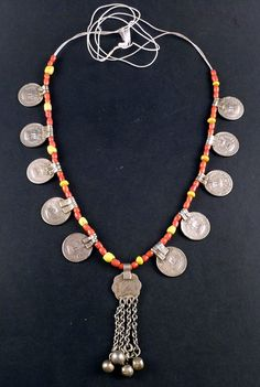 Banjara gypsy coin necklace from Rajasthan with glass beads, indian jewelry, indian necklace, banjara jewelry, tribal jewelry, belly dance on Etsy, $49.03