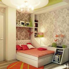 Peach Green Gray Girls Bedroom Ideas With Round Rug