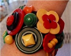 Create a unique bracelet with Bakelite buttons for that fabulous splash of color to complement your outfit!