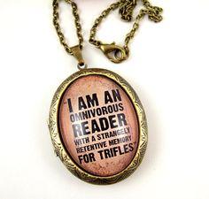 Sherlock Locket Sherlock Holmes Necklace Sherlock Necklace Literary Jewellery Literary Jewelry Literary Locket Book Lover via Etsy