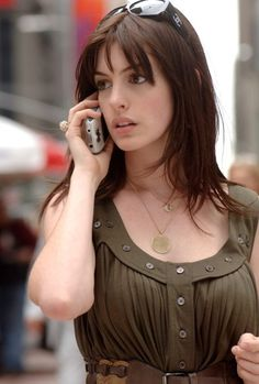 Anne Hathaway with wispy bangs and fringe
