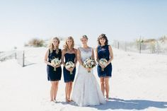 beachy blue bridesmaids | via: june bug weddings