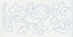 Jacobean Flower Quilting Border 5 (Single Run) design (H3999) from www.Emblibrary.com