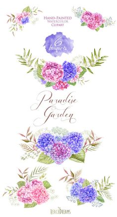 Wedding Watercolor Bouquets Hydrangea flowers Hand от ReachDreams