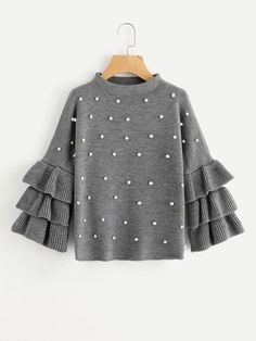 SHEIN Grey Crew Neck Pearl Beading Tiered Ruffle Sleeve Jumper Long Sleeve Loose Cute Women Sweaters and Pullovers Girls Fashion Clothes, Teen Fashion Outfits, Trendy Outfits, Girl Fashion, Girl Outfits, Cute Outfits, Style Fashion, Grunge Look, 90s Grunge