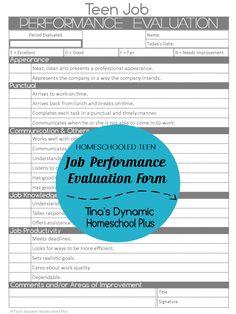 Homeschooled Teen Job Performance Evaluation Form