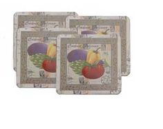 Spruce up your stove with suttle neutral tones with a hint of colorful veggies. This square set of 4 Veggies pattern can compliment any chefs decor. Limited Edition pattern while supplies last!