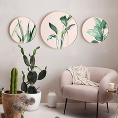 Circle Canvas, Round Canvas, Painted Ceramic Plates, Living Room Canvas, Decoration Piece, Living Room Remodel, Style Vintage, Plates On Wall, Canvas Wall Art