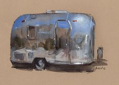 Art Print Car Painting Camper Airstream Retro Travel Americana Geekery - Airstream by David Lloyd