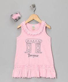 Take a look at this Pink 'Bonjour' Dress & Bow - Infant, Toddler & Girls by Bourbon Street Boutique on #zulily today!