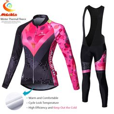 756628c39 Malciklo Pro Fabric Winter Fleece Cycling Suit Jersey Women s Long Sleeve Bicycle  Cycling Clothing Bike Wear