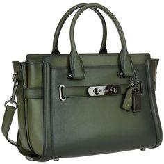 Coach Swagger 27 Bag ($530) ❤ liked on Polyvore featuring bags, handbags, green, zipper purse, zipper bag, zip purse, green bag and green handbags