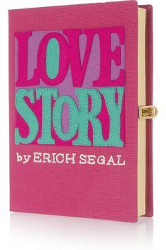 Olympia Le-Tan Love Story felt-appliquéd canvas clutch