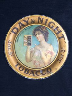 Day & Night Tobacco Tin Tip Tray Rare Advertising Cincinnati Ohio Cigar Bar